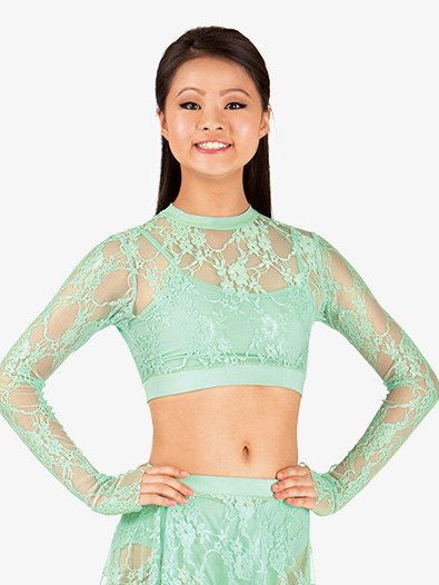 Adult Mock Neck Lace Long Sleeve Crop Top - Style No ING55x