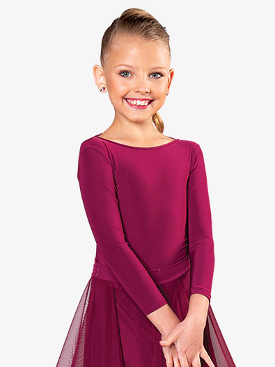 Girls Tie Back Long Sleeve Ballroom Leotard - Style No JRB2