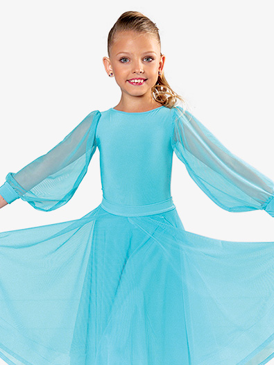 Girls Mesh Puff Long Sleeve Ballroom Leotard - Style No JRB3