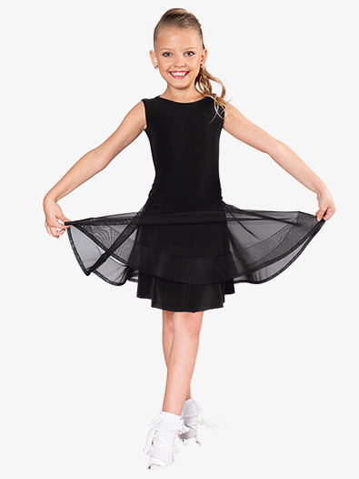 Girls Tie Back Mesh Short Ballroom Skirt - Style No JRS1