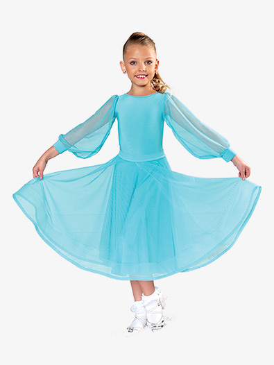 Girls Tie Back Mesh Long Ballroom Skirt - Style No JRS2