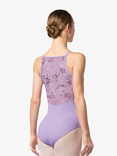 Womens Floral Printed Mesh Camisole Leotard - Style No L4877