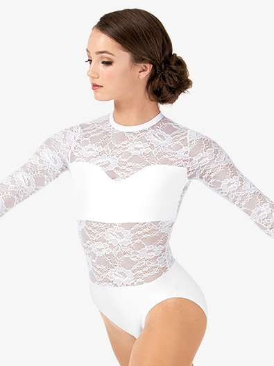 Adult Sweetheart Bandeau Lace Long Sleeve Leotard - Style No LC210