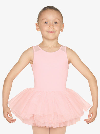 Girls Heart Mesh Insert Tank Ballet Tutu Dress - Style No M1077C