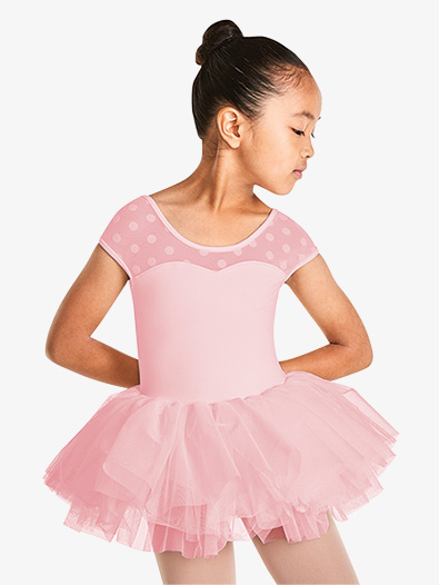 Girls Polka Dot Mesh Short Sleeve Tutu Dress - Style No M1508C