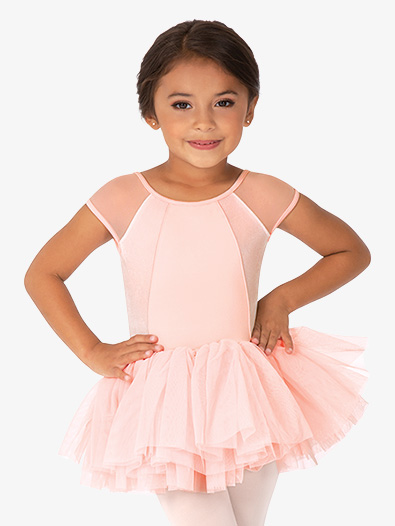 Girls Velvet Open Bow Back Tank Ballet Tutu Dress - Style No M1523C