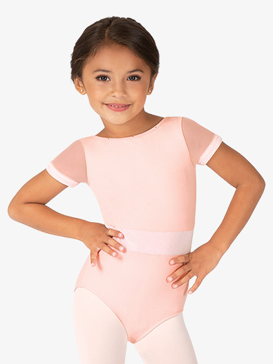 Girls Velvet Waistband Short Sleeve Leotard - Style No M1524C