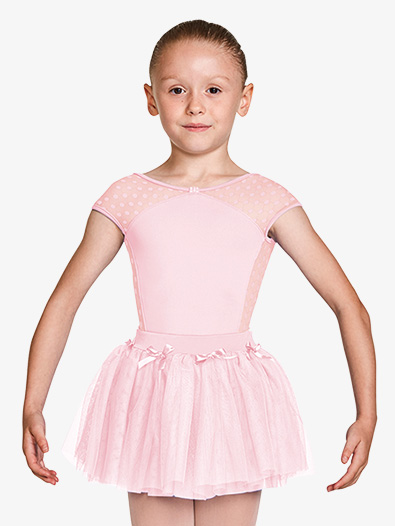 Girls Dot Mesh Bow Front Short Sleeve Leotard - Style No M1533C