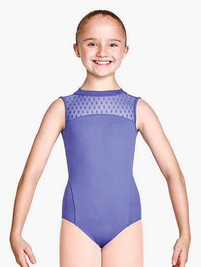 Girls Dot Mesh Open Back Tank Leotard - Style No M464C