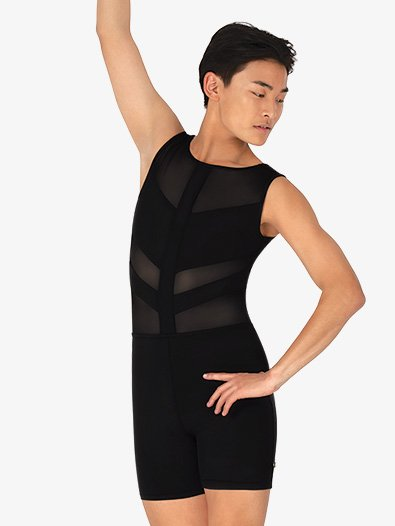 Mens Spliced Mesh Tank Dance Shorty Unitard - Style No ME595