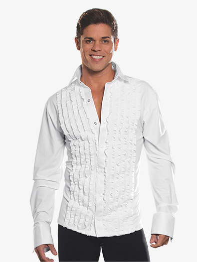Mens Ruffled Long Sleeve Ballroom Top - Style No MS8A