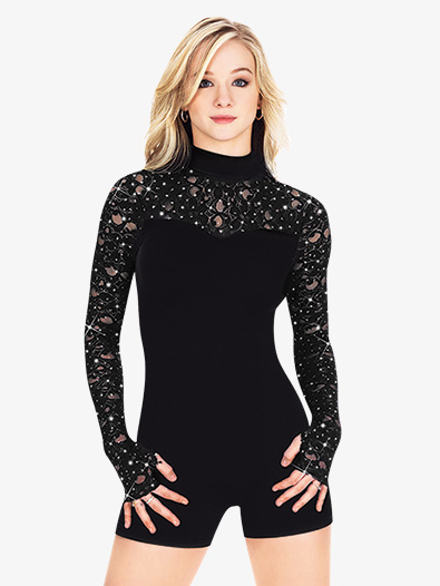 Adult Long Sleeve Shorty Velvet Unitard - Style No N7052