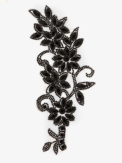 Iron On Black Rhinestone Floral Applique - Style No N716
