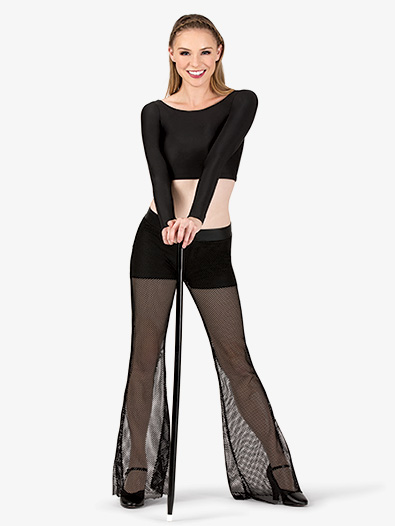Womens Mesh Dance Bell Bottom Pants - Style No N7284x