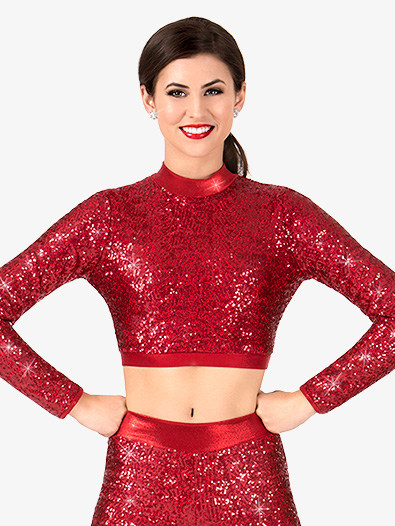 Womens Sequin Long Sleeve Performance Crop Top - Style No N7389x
