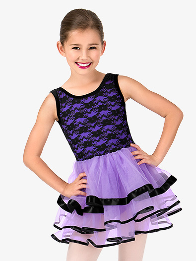 Girls Floral Lace Tank Ballet Tutu Dress - Style No N7453C
