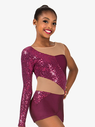Girls Asymmetrical Sequin Jazz Shorty Unitard - Style No N7456C