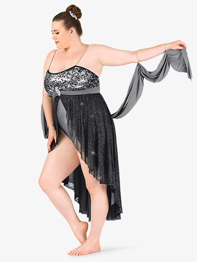 Womens Plus Size Glitter Mesh High-Low Camisole Lyrical Dress - Style No N7468P