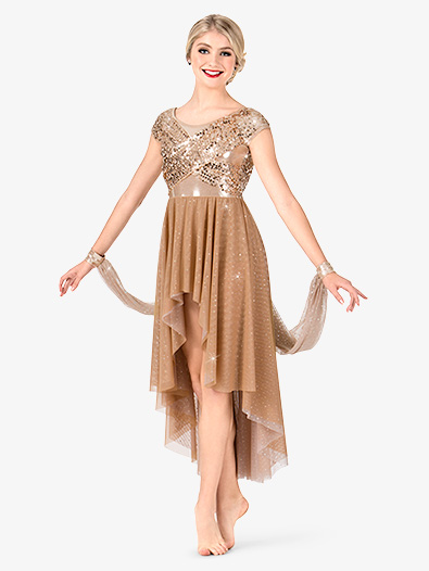 Womens Sequin High-Low Performance Dress - Style No N7474
