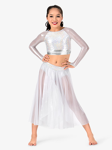 Girls Glitter Mesh Long Sleeve 2-Piece Performance Set - Style No N7484C