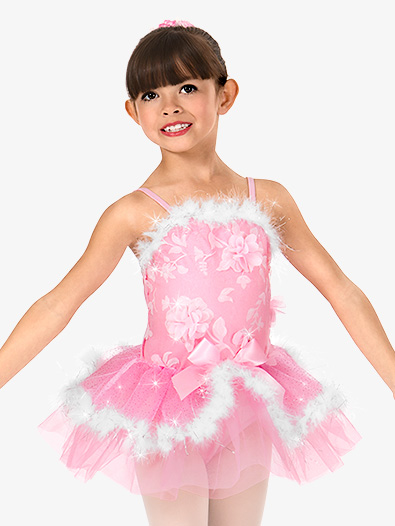 Girls 3-D Floral Fur Trimmed Performance Tutu Dress - Style No N7495C