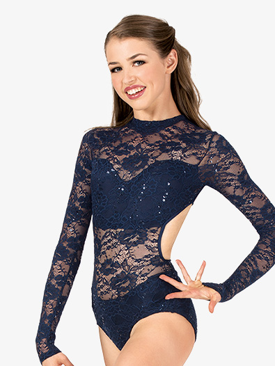 Womens Performance Sequin Lace Long Sleeve Leotard - Style No N7530x