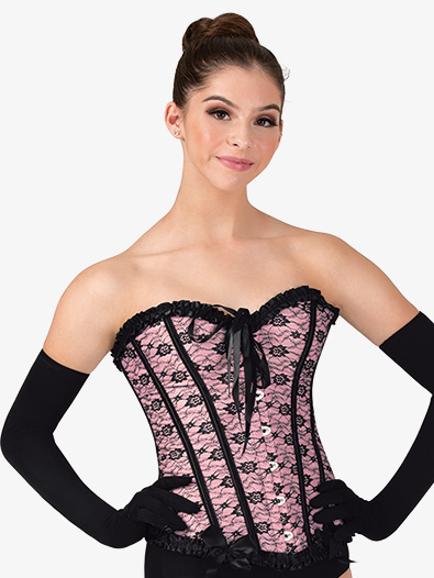 Womens Lace Overlay Hook Front Dance Corset - Style No N7533x