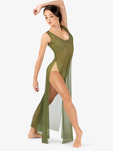 Adult Long V-Neck Mesh Tank Lyrical Dress - Style No N7603x