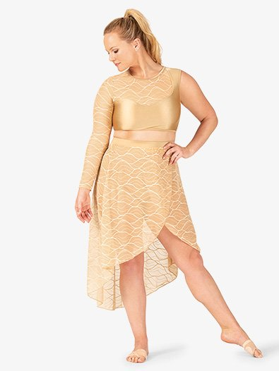 Womens Plus Size Swirl Mesh Long High-Low Performance Skirt - Style No N7630Px