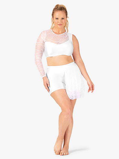 Womens Plus Size Swirl Mesh Bustled Dance Shorts - Style No N7633Px