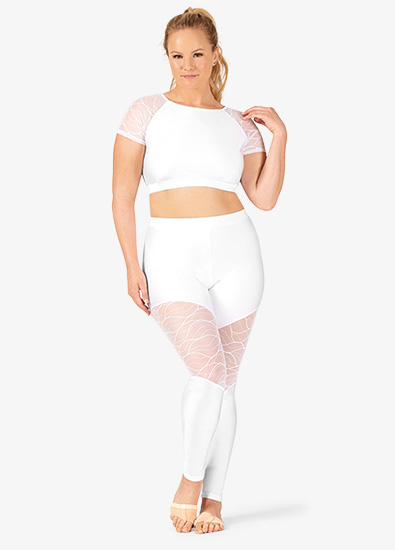 Womens Plus Size Swirl Mesh Ankle Dance Leggings - Style No N7634Px