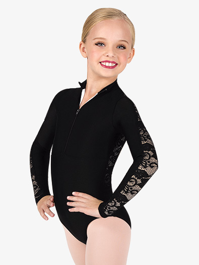Girls Lace Back Mock Neck Long Sleeve Leotard - Style No N7647Cx