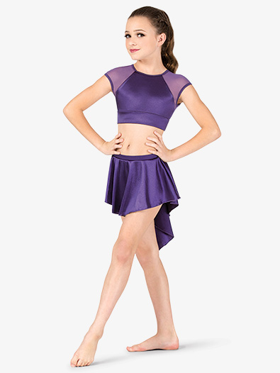 Girls Performance Satin Gathered Back Short Skirt - Style No N7683C