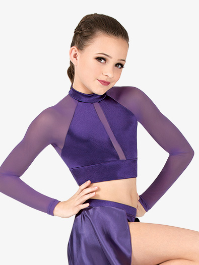 Girls Performance Satin Mock Neck Crop Top - Style No N7695Cx