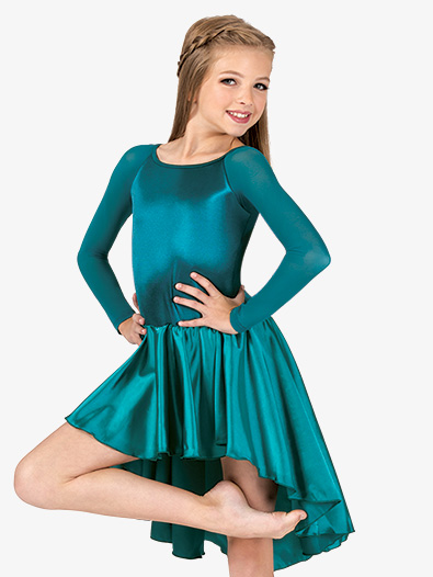 Girls Performance Satin Asymmetrical Long Sleeve Dress - Style No N7697C