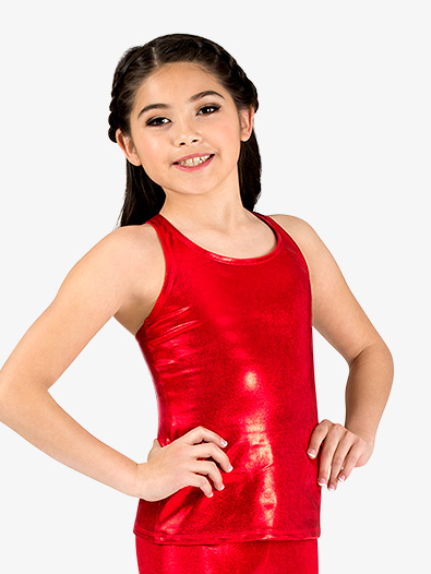 Girls Long Metallic Halter Dance Tank Top - Style No N7729Cx