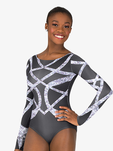 Womens Geometric Rhinestone Sublimated Print Performance Leotard - Style No N7745