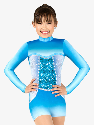 Girls Snow Princess Sublimated Print Performance Shorty Unitard - Style No N7757C