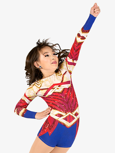 Girls Warrior Princess Sublimated Print Performance Shorty Unitard - Style No N7763C