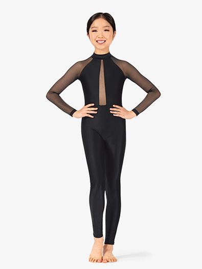 Girls Performance Plunging Mesh Long Sleeve Unitard - Style No N7767C