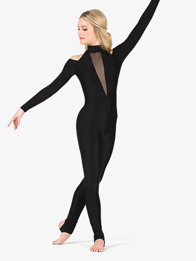 Womens Performance Shoulder Cutout Stirrup Unitard - Style No N7771