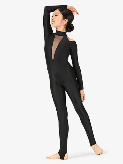 Girls Performance Shoulder Cutout Stirrup Unitard - Style No N7771Cx