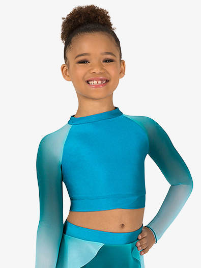 Girls Performance Ombre Mesh Long Sleeve Crop Top - Style No N7782C