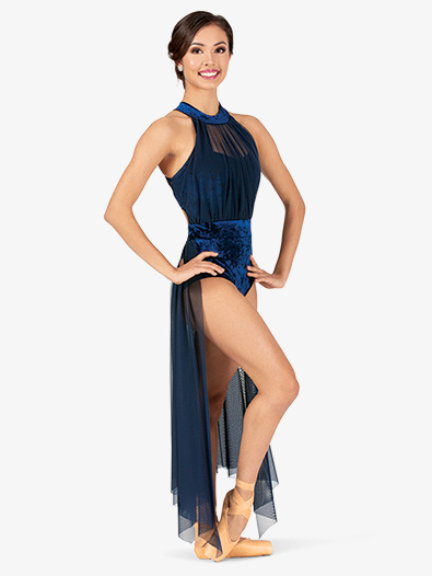 Womens Performance Crushed Velvet Halter Dress - Style No N7786