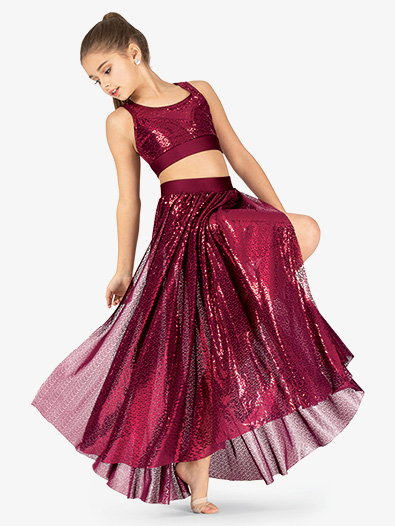Girls Performance Glitter Swirl Long Skirt - Style No N7797C