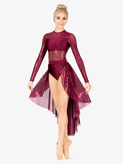 Womens Performance Glitter Swirl Long Sleeve Dress - Style No N7801