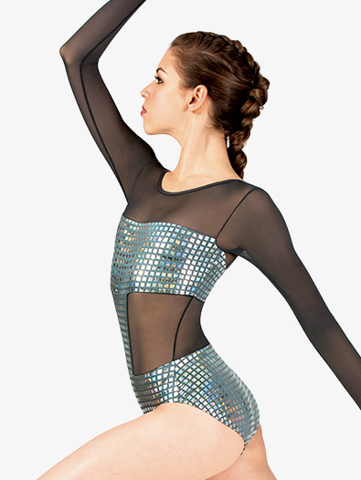 Womens Performance Metallic Square Long Sleeve Leotard - Style No N7802