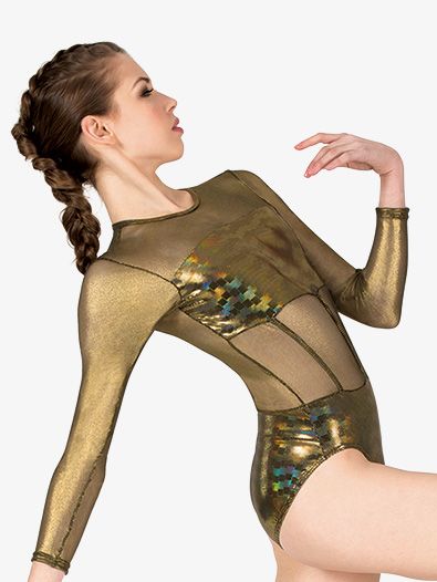 Womens Performance Metallic Long Sleeve Leotard - Style No N7805x