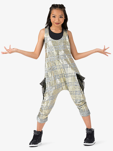 Girls Performance Metallic Print Tank Jumpsuit - Style No N7809C