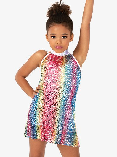 Girls Rainbow Sequin Halter Dance Costume Dress Set - Style No N7812C